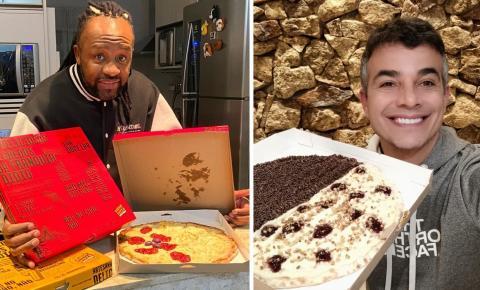 A paixão por Pizzas! Claudinho do Grupo Negritude Jr e ator AndersonDiRizzi, não escondem a preferencia